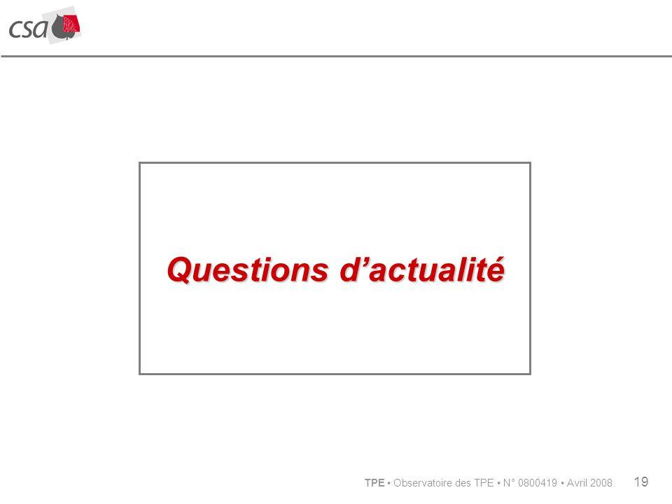 TPE Observatoire des TPE N° 0800419 Avril 2008 19 Questions dactualité