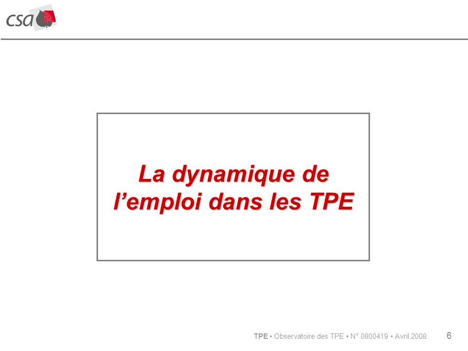 TPE Observatoire des TPE N° 0800419 Avril 2008 6 La dynamique de lemploi dans les TPE