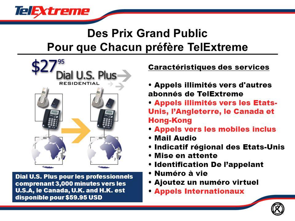 Dial U.S. Plus pour les professionnels comprenant 3,000 minutes vers les U.S.A, le Canada, U.K.