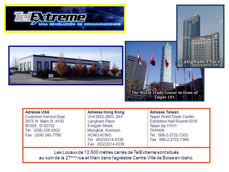 Adresse USA Customer Service Dept 2675 W. Main St. #100 BOISE, ID 83702 Tél : (208) 336-3003 Fax : (208) 345-7788 Adresse Hong Kong Unit 2602-2603, 26
