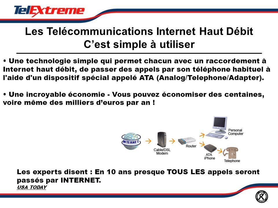 Les Telécommunications Internet Haut Débit Cest simple à utiliser Une technologie simple qui permet chacun avec un raccordement à Internet haut débit, de passer des appels par son téléphone habituel à l aide d un dispositif spécial appelé ATA (Analog/Telephone/Adapter).