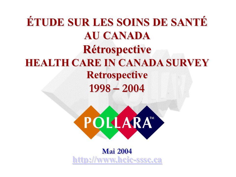 ÉTUDE SUR LES SOINS DE SANTÉ AU CANADA Rétrospective HEALTH CARE IN CANADA SURVEY Retrospective 1998 – 2004 Mai 2004 http://www.hcic-sssc.ca ÉTUDE SUR LES SOINS DE SANTÉ AU CANADA Rétrospective HEALTH CARE IN CANADA SURVEY Retrospective 1998 – 2004 Mai 2004 http://www.hcic-sssc.ca