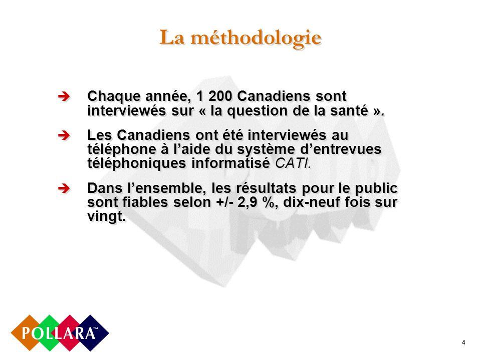 4 La méthodologie Chaque année, 1 200 Canadiens sont interviewés sur « la question de la santé ».