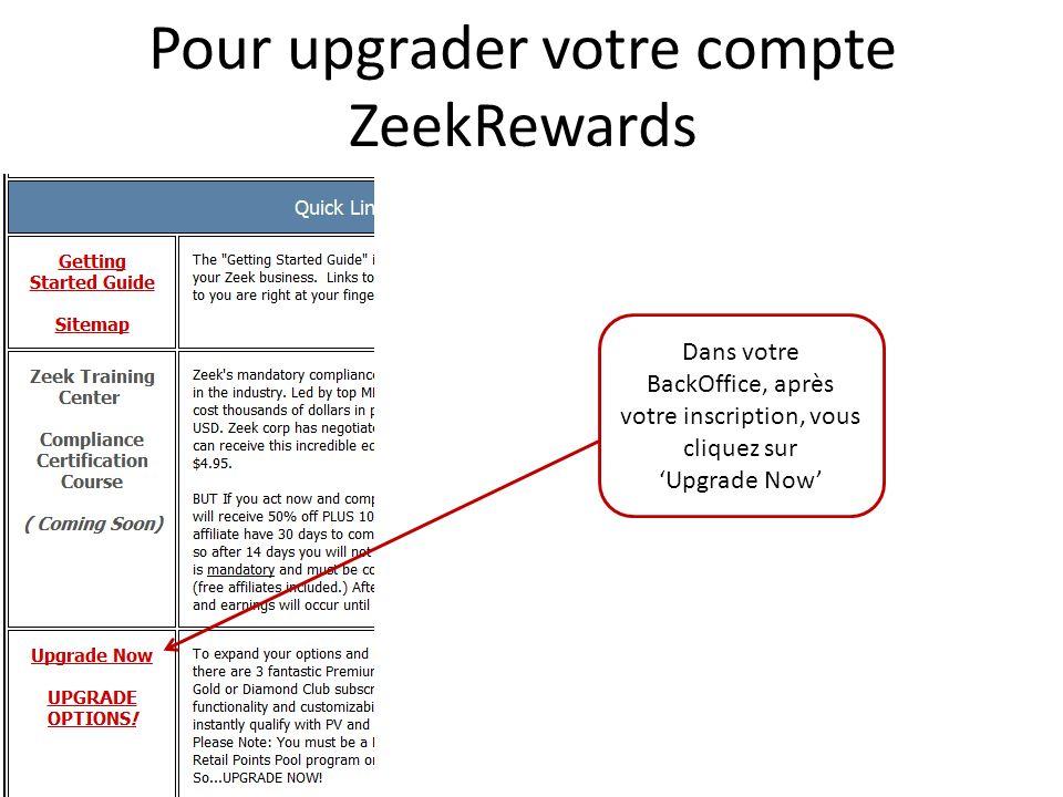 Pour upgrader votre compte ZeekRewards Dans votre BackOffice, après votre inscription, vous cliquez sur Upgrade Now
