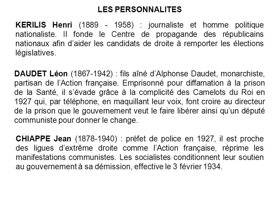 LES PERSONNALITES KERILIS Henri (1889 - 1958) : journaliste et homme politique nationaliste.
