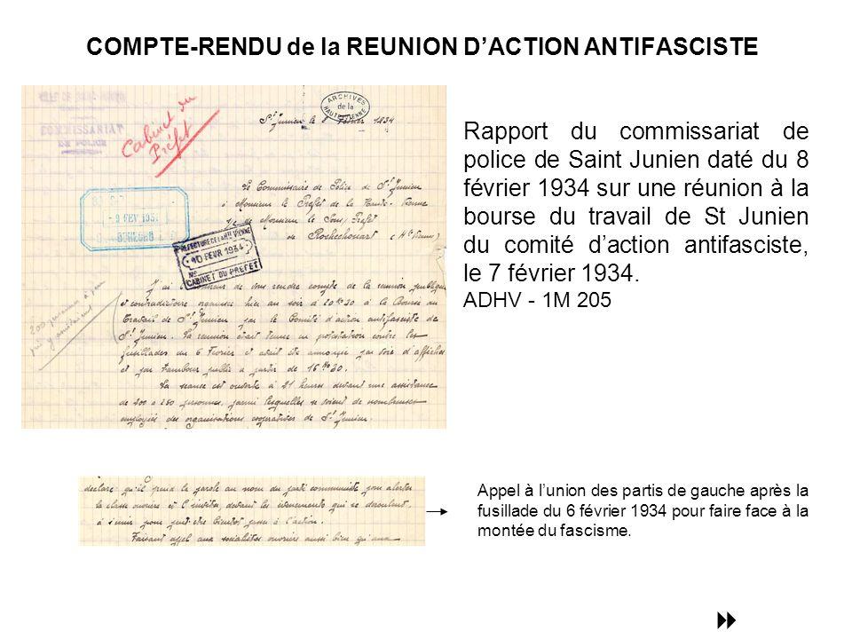 COMPTE-RENDU de la REUNION DACTION ANTIFASCISTE Appel à lunion des partis de gauche après la fusillade du 6 février 1934 pour faire face à la montée du fascisme.
