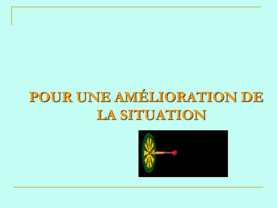 POUR UNE AMÉLIORATION DE LA SITUATION