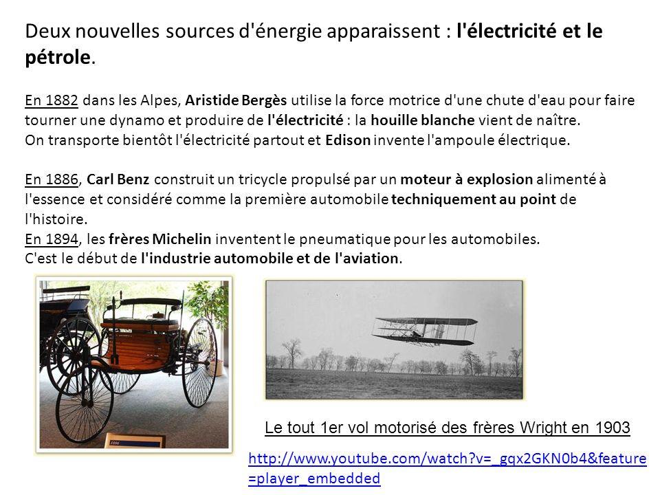 Deux nouvelles sources d énergie apparaissent : l électricité et le pétrole.