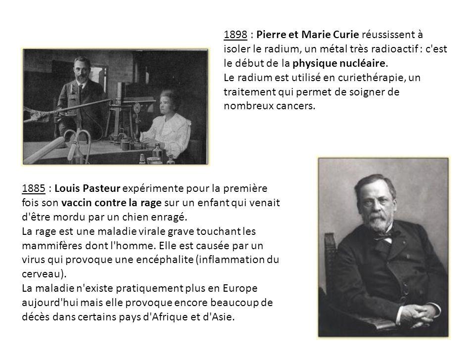 1898 : Pierre et Marie Curie réussissent à isoler le radium, un métal très radioactif : c est le début de la physique nucléaire.
