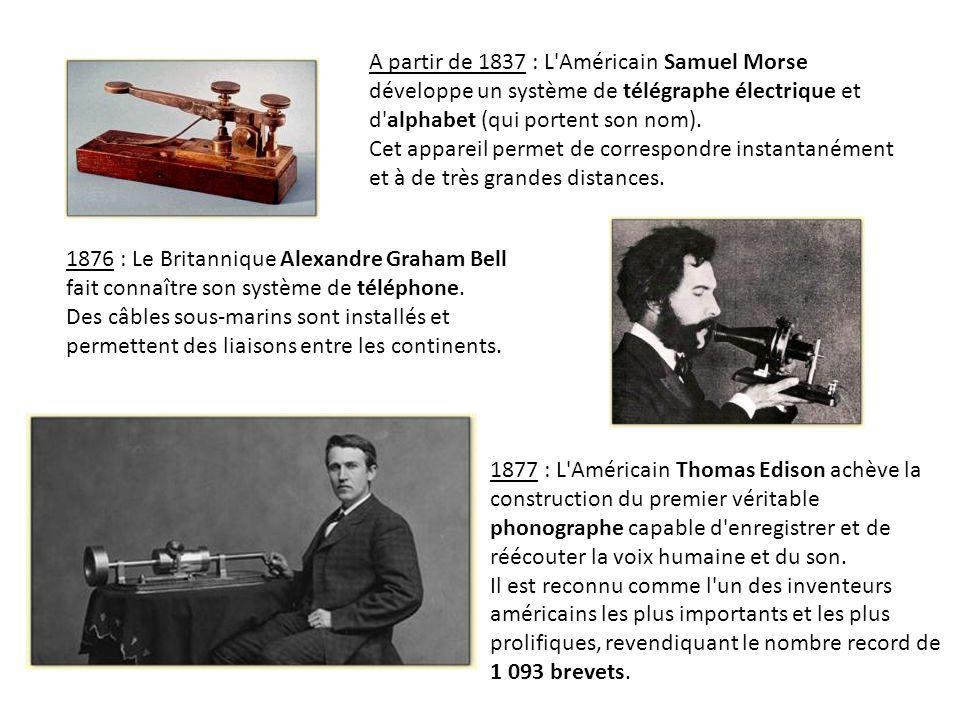 A partir de 1837 : L Américain Samuel Morse développe un système de télégraphe électrique et d alphabet (qui portent son nom).