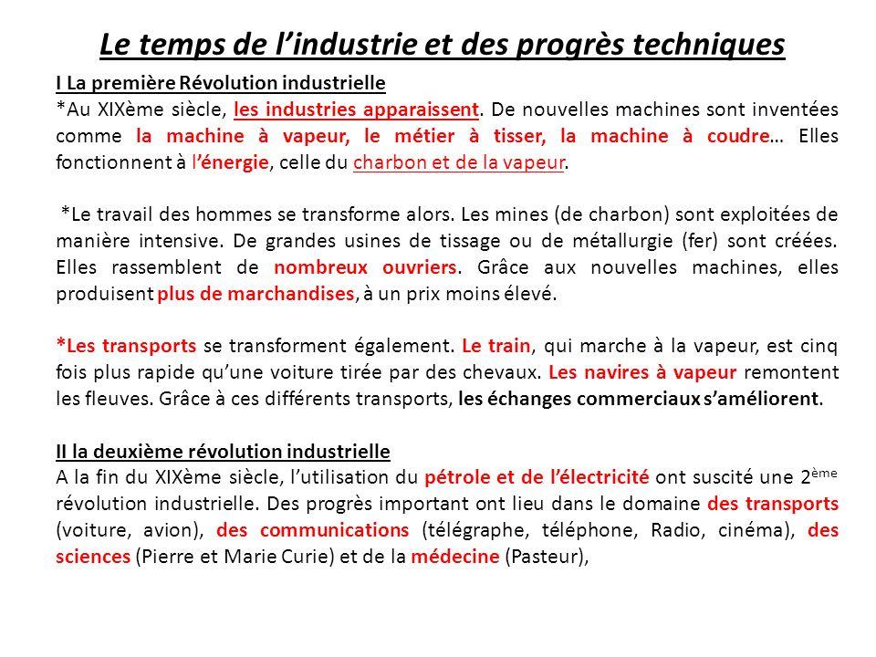 I La première Révolution industrielle *Au XIXème siècle, les industries apparaissent.