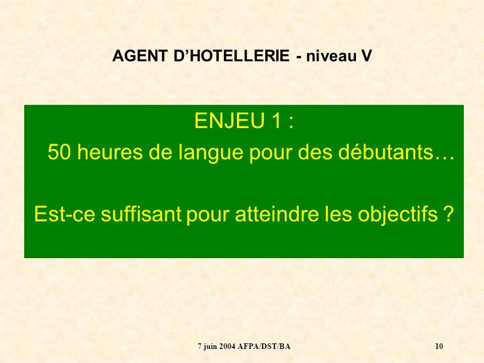 7 juin 2004 AFPA/DST/BA11 AGENT DHOTELLERIE - niveau V ENJEU 2 : Le mode dévaluation dévaloriserait-il la langue .