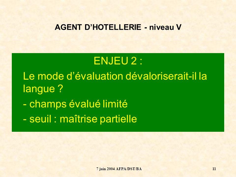 7 juin 2004 AFPA/DST/BA12 AGENT DHOTELLERIE - niveau V ENJEU 3 : Que veut dire « évaluer les langues » dans le nouveau système de certification .