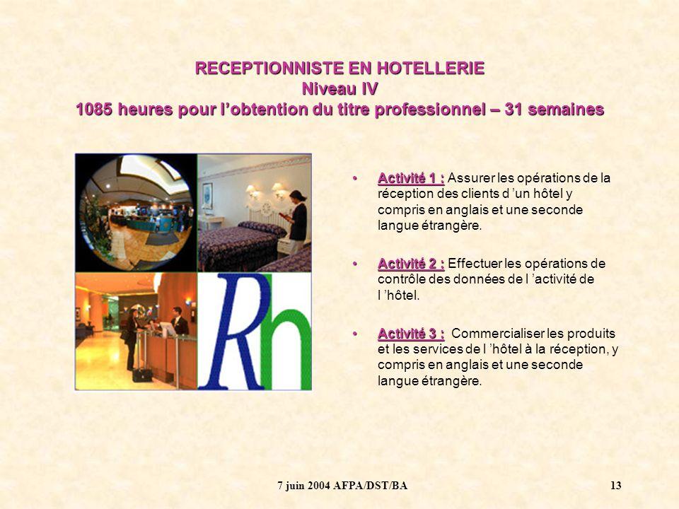7 juin 2004 AFPA/DST/BA14 RECEPTIONNISTE EN HOTELLERIE - niveau IV LES LANGUES AVANT…..