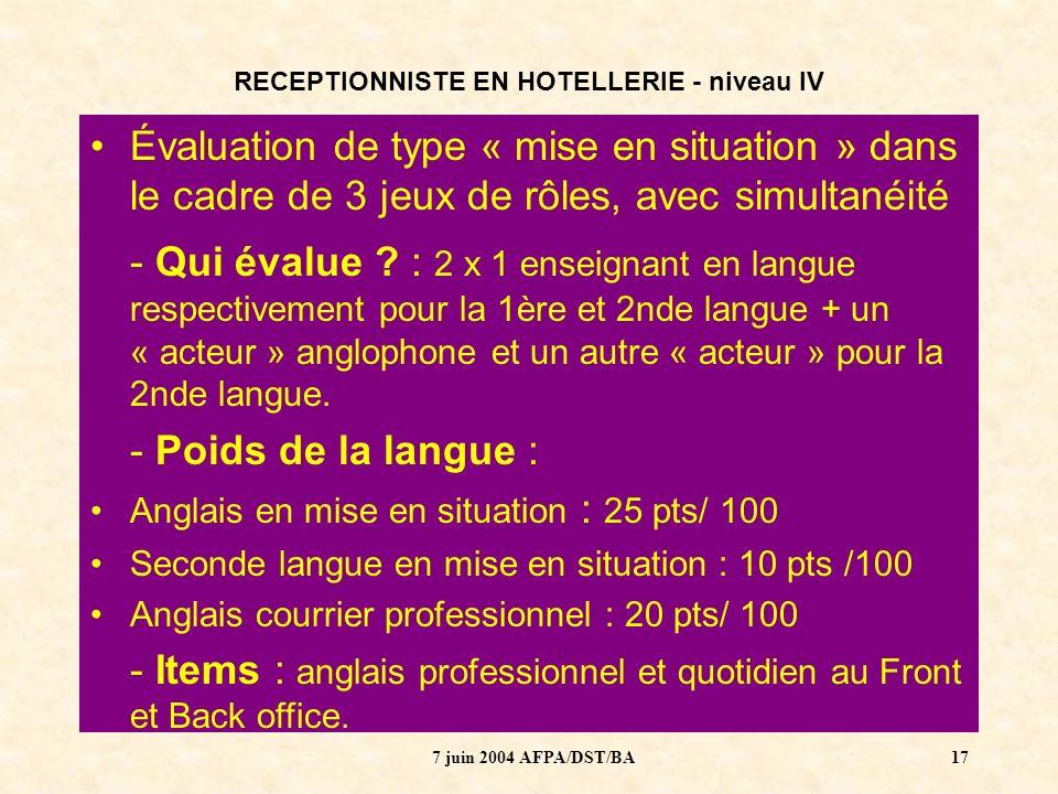 7 juin 2004 AFPA/DST/BA18 RECEPTIONNISTE EN HOTELLERIE - niveau IV LES LANGUES AUJOURDHUI ?