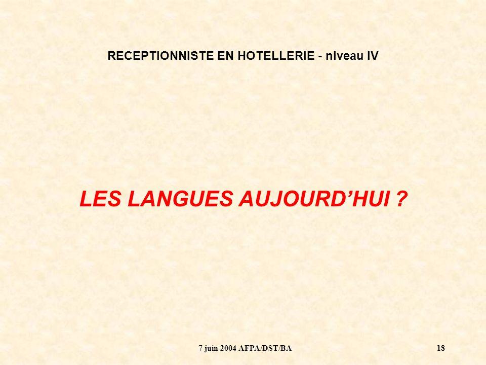 7 juin 2004 AFPA/DST/BA19 RECEPTIONNISTE EN HOTELLERIE - niveau IV Formation de 1085 heures (31 semaines) Dont 142 heures danglais.