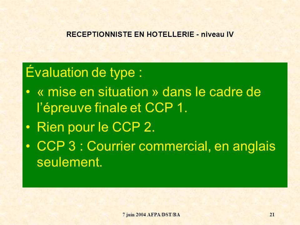 7 juin 2004 AFPA/DST/BA22 RECEPTIONNISTE EN HOTELLERIE - niveau IV -Qui évalue .