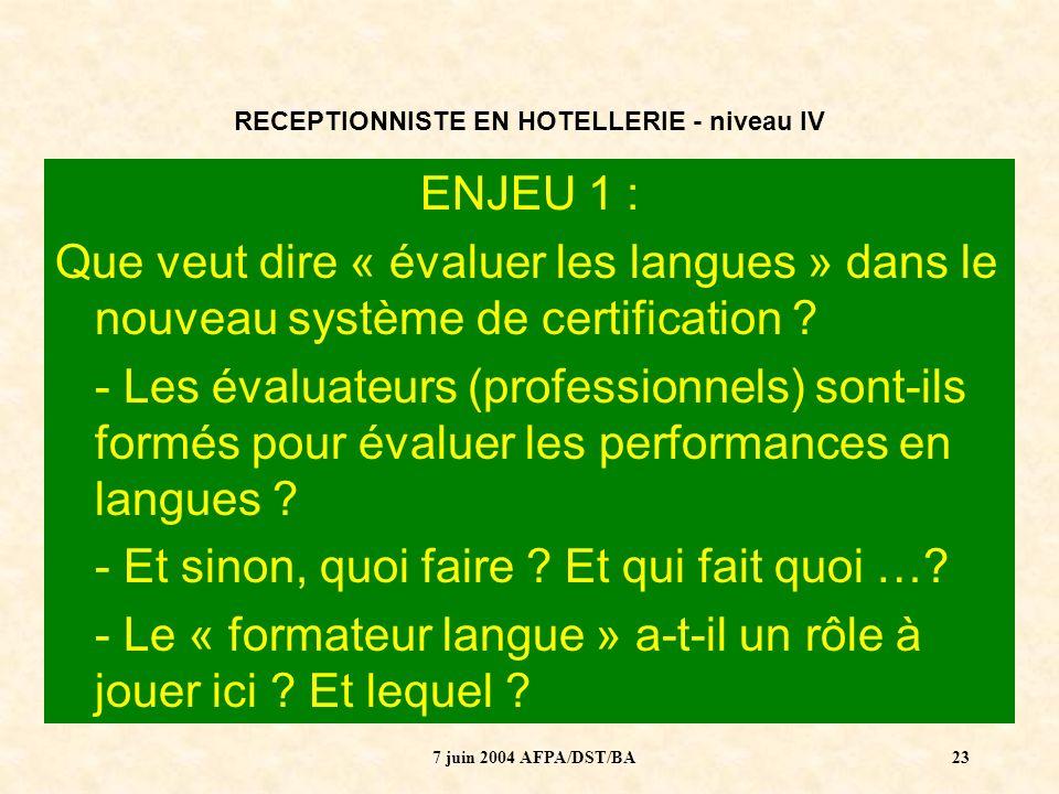 7 juin 2004 AFPA/DST/BA24 RECEPTIONNISTE EN HOTELLERIE - niveau IV ENJEU 2 : Dans la formation, il est parfaitement envisageable de réaliser les Périodes en entreprise à létranger : Comment créer une dynamique entre formateur professionnel et formateur langue .