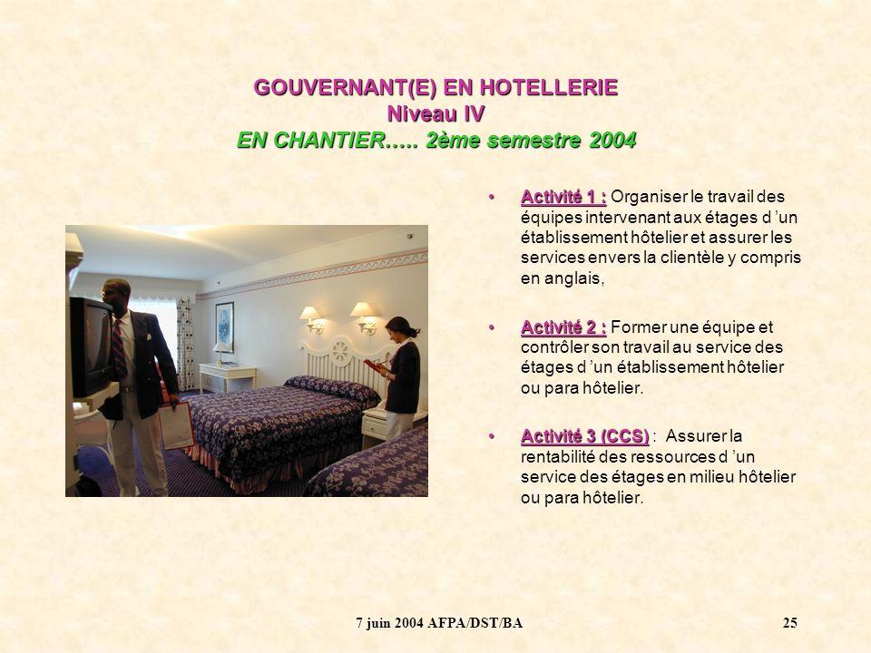 7 juin 2004 AFPA/DST/BA26 GOUVERNANT(E) EN HOTELLERIE Niveau IV EN CHANTIER…..