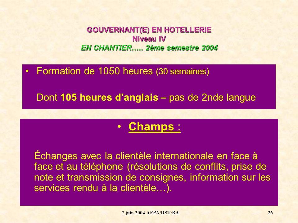 7 juin 2004 AFPA/DST/BA27 GOUVERNANT(E) EN HOTELLERIE Niveau IV EN CHANTIER…..