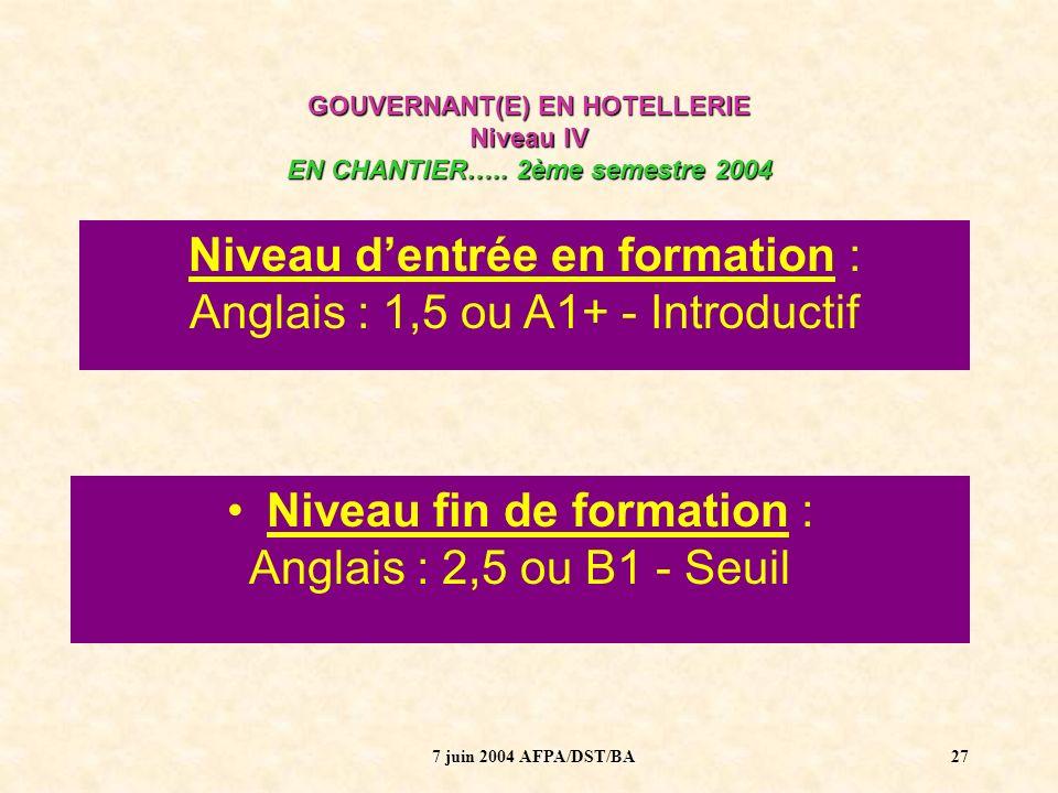 7 juin 2004 AFPA/DST/BA28 GOUVERNANT(E) EN HOTELLERIE Niveau IV EN CHANTIER…..