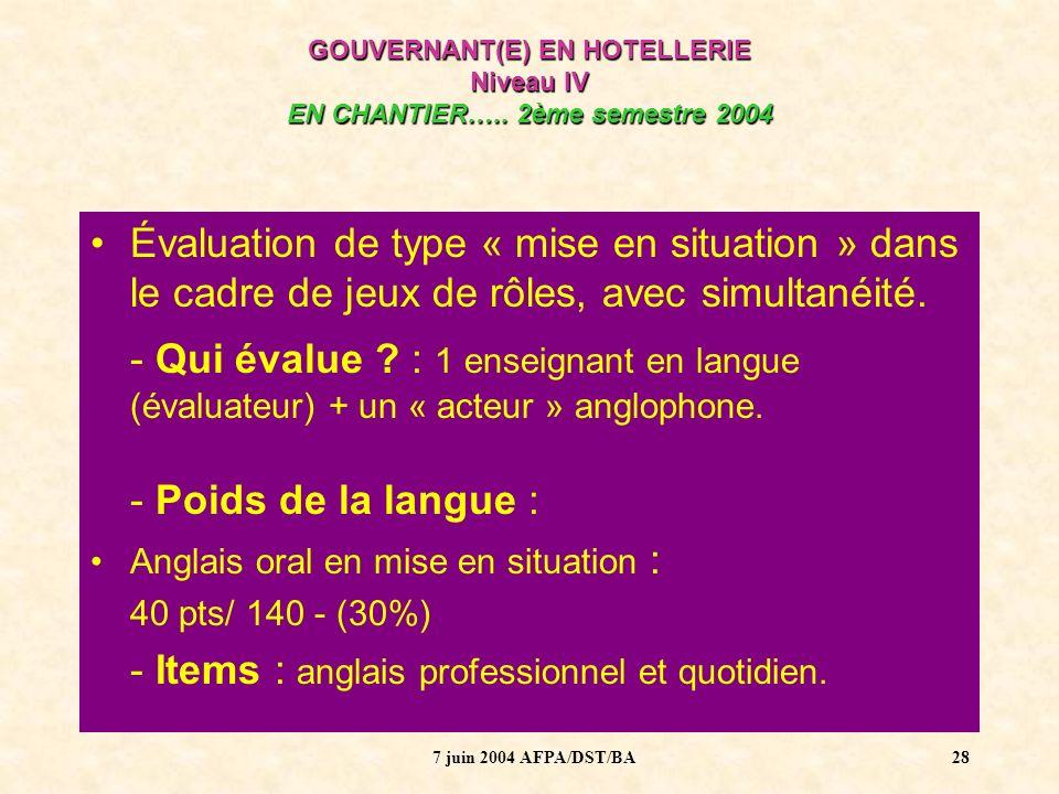 7 juin 2004 AFPA/DST/BA29 GOUVERNANT(E) EN HOTELLERIE Niveau IV EN CHANTIER…..