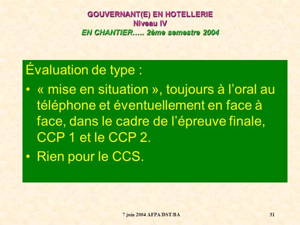 7 juin 2004 AFPA/DST/BA32 GOUVERNANT(E) EN HOTELLERIE Niveau IV EN CHANTIER…..
