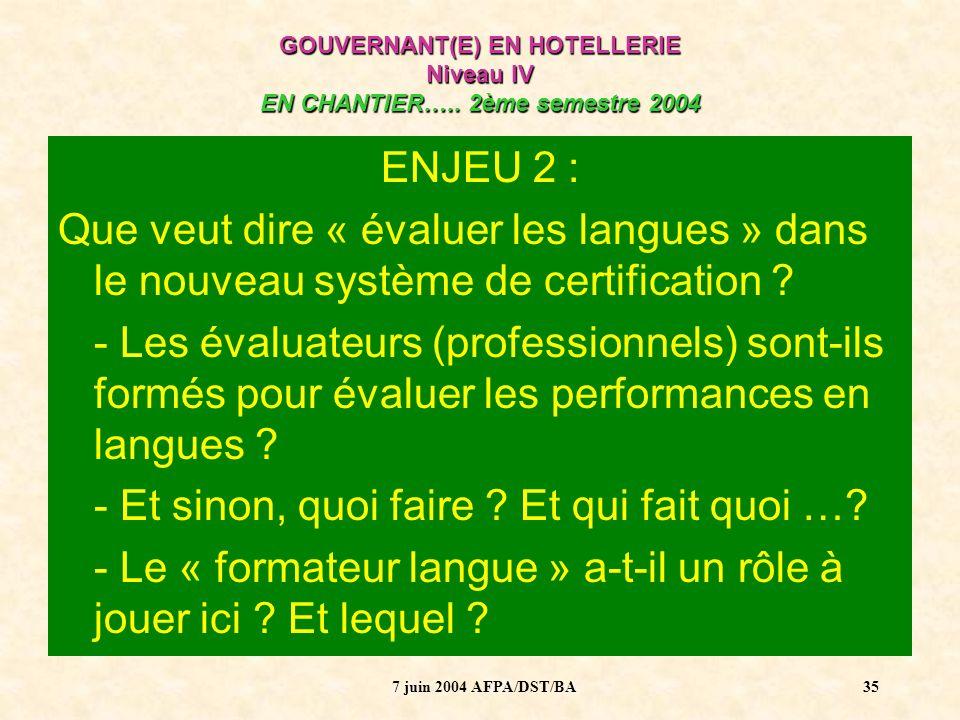 7 juin 2004 AFPA/DST/BA36 ENJEU 3 : Dans la formation, il est parfaitement envisageable de réaliser les Périodes en entreprise à létranger : Comment créer une dynamique entre formateur professionnel et formateur langue .