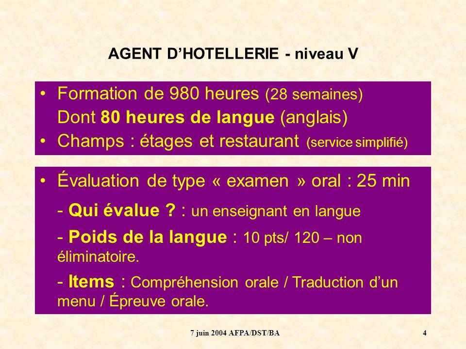 7 juin 2004 AFPA/DST/BA5 AGENT DHOTELLERIE - niveau V Niveau dentrée : pas de pré-requis Niveau fin de formation : 1 ou A1 – Introductif