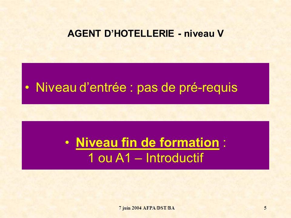 7 juin 2004 AFPA/DST/BA6 AGENT DHOTELLERIE - niveau V LES LANGUES AUJOURDHUI ?