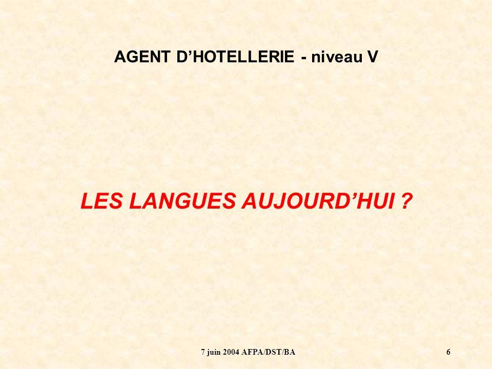 7 juin 2004 AFPA/DST/BA7 AGENT DHOTELLERIE - niveau V Formation de 665 heures (19 semaines) Dont 50 heures de langue (anglais) …..