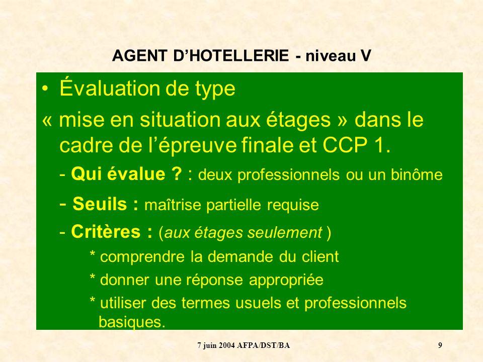 7 juin 2004 AFPA/DST/BA10 AGENT DHOTELLERIE - niveau V ENJEU 1 : 50 heures de langue pour des débutants… Est-ce suffisant pour atteindre les objectifs ?