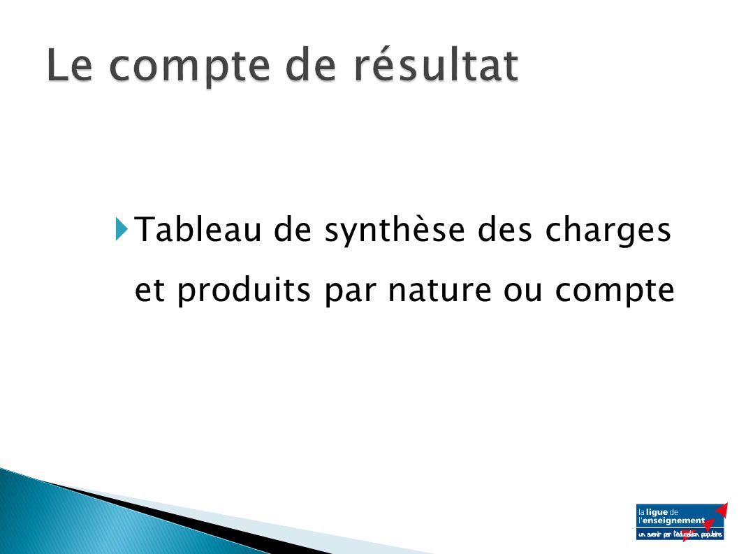 Tableau de synthèse des charges et produits par nature ou compte