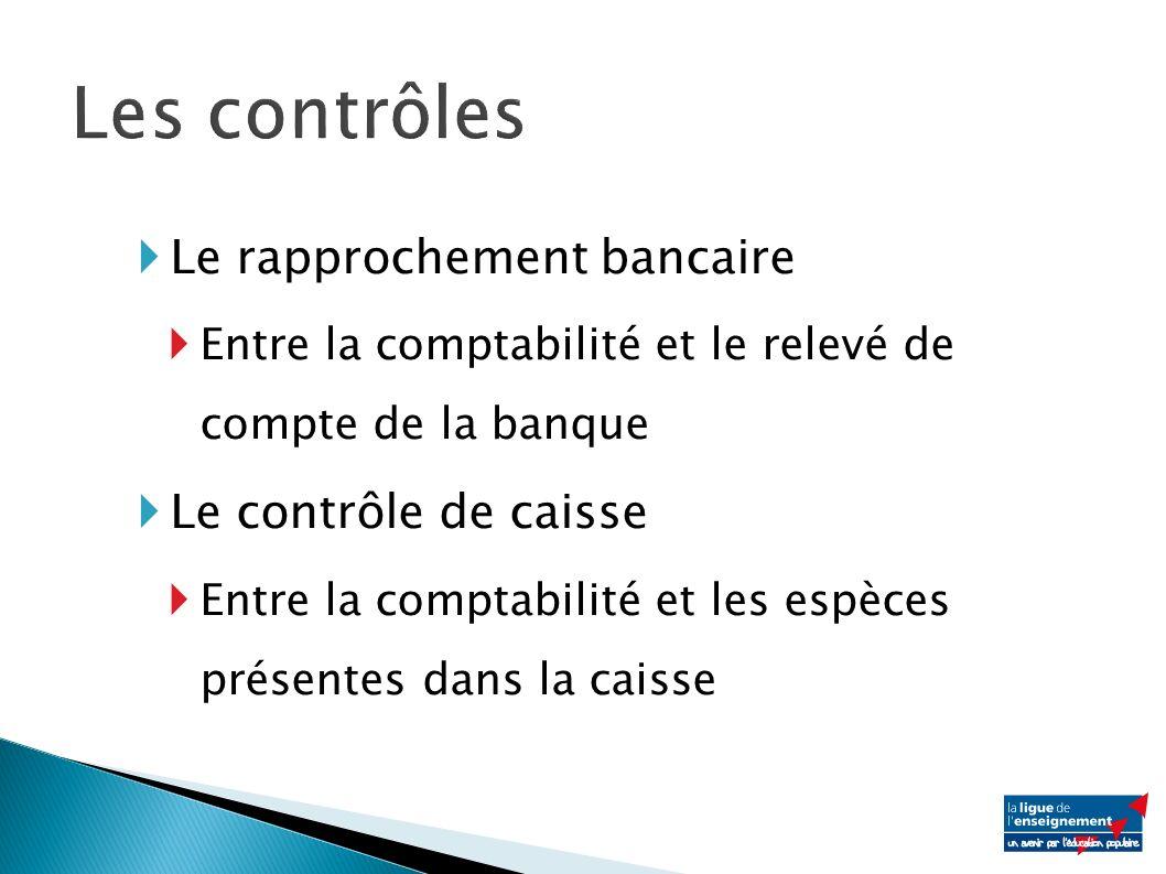 Le rapprochement bancaire Entre la comptabilité et le relevé de compte de la banque Le contrôle de caisse Entre la comptabilité et les espèces présentes dans la caisse