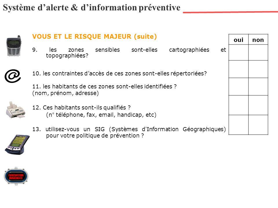 Système dalerte & dinformation préventive VOUS ET LE RISQUE MAJEUR (suite) 9. les zones sensibles sont-elles cartographiées et topographiées? 10. les
