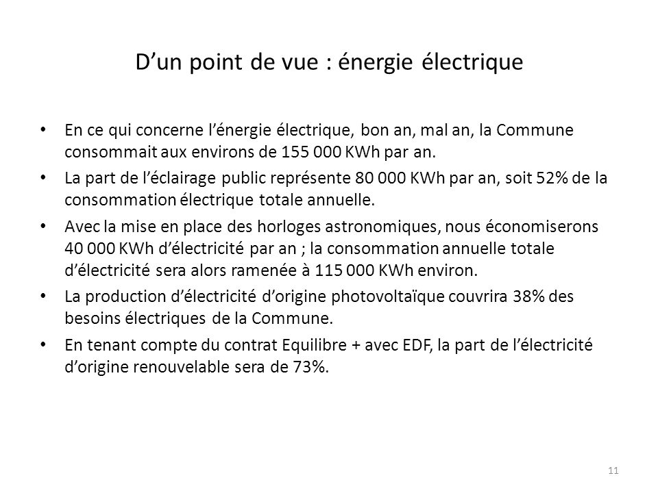 Dun point de vue : énergie électrique En ce qui concerne lénergie électrique, bon an, mal an, la Commune consommait aux environs de 155 000 KWh par an.