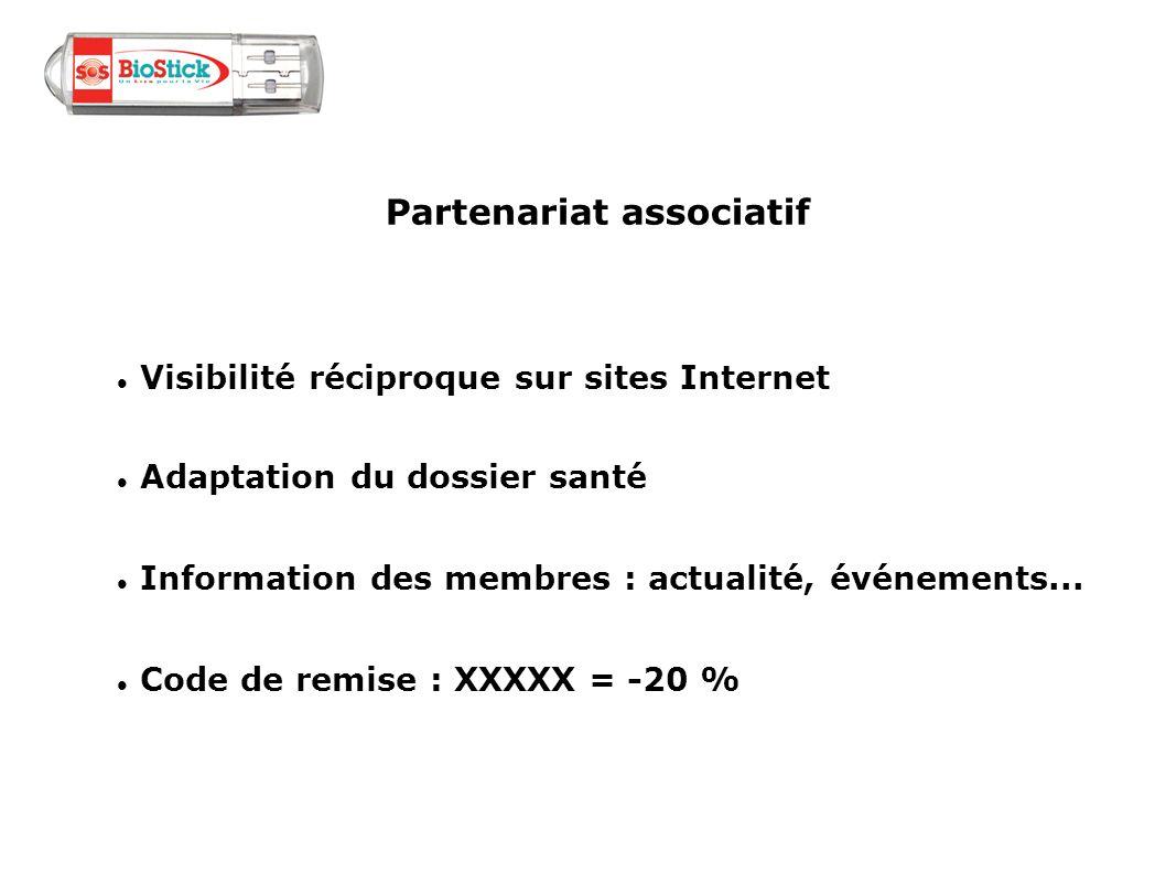 Partenariat associatif Visibilité réciproque sur sites Internet Adaptation du dossier santé Information des membres : actualité, événements... Code de