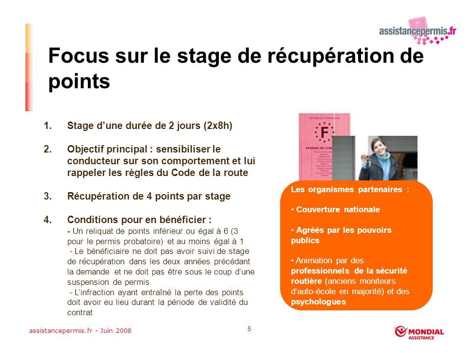 assistancepermis.fr - Juin 2008 5 Focus sur le stage de récupération de points 1.Stage dune durée de 2 jours (2x8h) 2.Objectif principal : sensibiliser le conducteur sur son comportement et lui rappeler les règles du Code de la route 3.Récupération de 4 points par stage 4.Conditions pour en bénéficier : - Un reliquat de points inférieur ou égal à 6 (3 pour le permis probatoire) et au moins égal à 1 - Le bénéficiaire ne doit pas avoir suivi de stage de récupération dans les deux années précédant la demande et ne doit pas être sous le coup dune suspension de permis - Linfraction ayant entraîné la perte des points doit avoir eu lieu durant la période de validité du contrat Les organismes partenaires : Couverture nationale Agréés par les pouvoirs publics Animation par des professionnels de la sécurité routière (anciens moniteurs dauto-école en majorité) et des psychologues