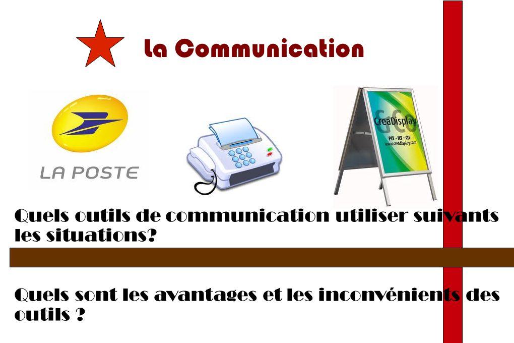 La Communication Quels outils de communication utiliser suivants les situations.