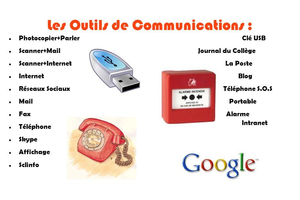 Les Outils de Communications : Photocopier+Parler Clé USB Scanner+Mail Journal du Collège Scanner+Internet La Poste Internet Blog Réseaux Sociaux Télé