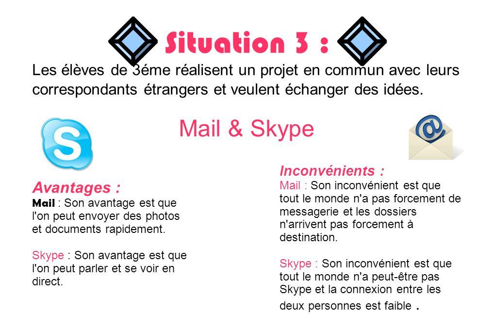 Situation 3 : Les élèves de 3éme réalisent un projet en commun avec leurs correspondants étrangers et veulent échanger des idées. Mail & Skype Avantag