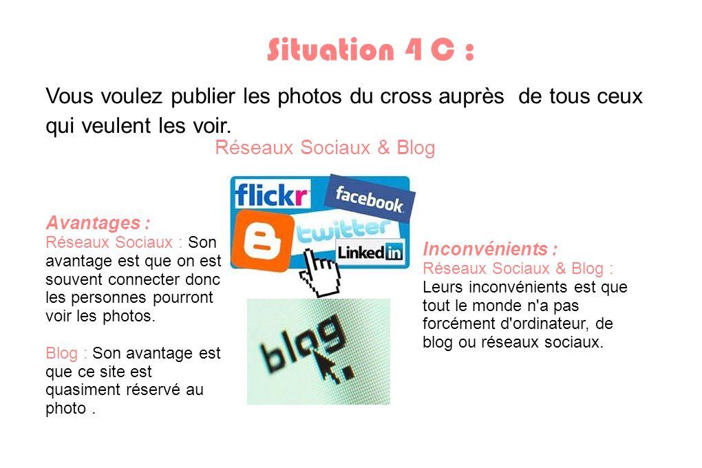 Situation 4 C : Vous voulez publier les photos du cross auprès de tous ceux qui veulent les voir. Réseaux Sociaux & Blog Avantages : Réseaux Sociaux :