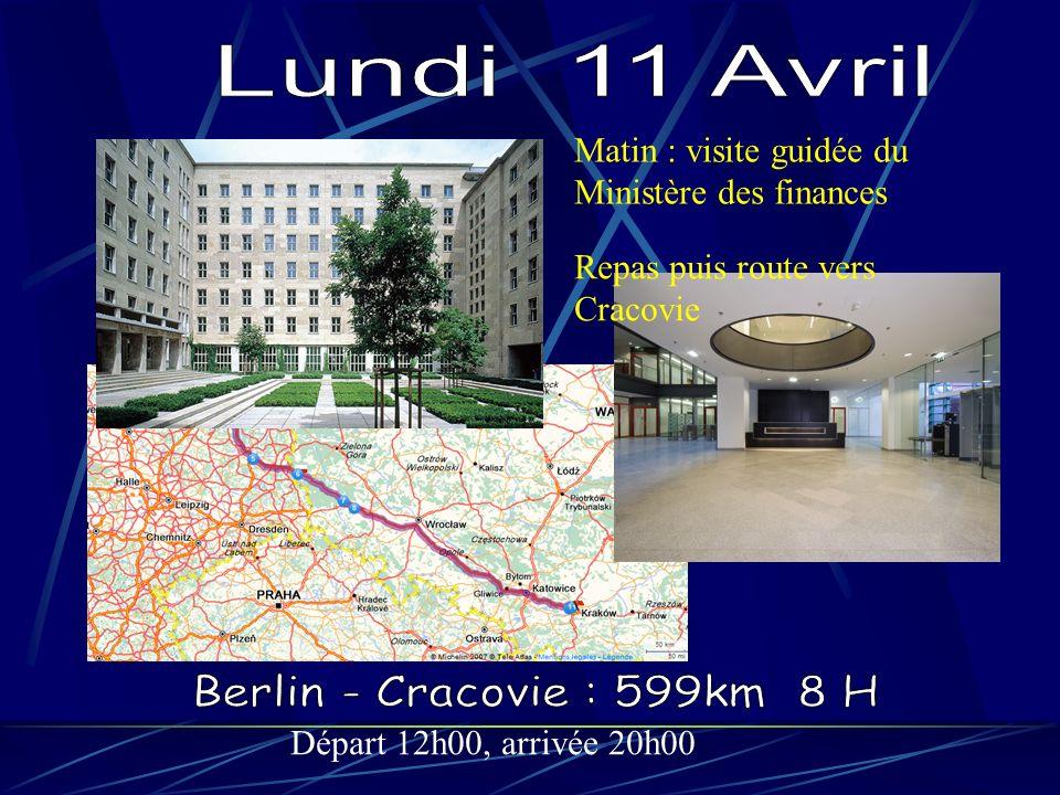 Départ 12h00, arrivée 20h00 Matin : visite guidée du Ministère des finances Repas puis route vers Cracovie
