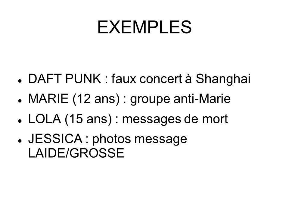 EXEMPLES DAFT PUNK : faux concert à Shanghai MARIE (12 ans) : groupe anti-Marie LOLA (15 ans) : messages de mort JESSICA : photos message LAIDE/GROSSE