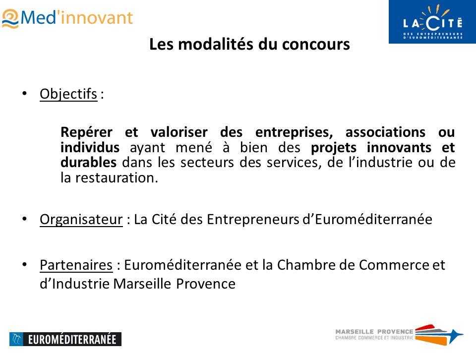 Les modalités du concours Objectifs : Repérer et valoriser des entreprises, associations ou individus ayant mené à bien des projets innovants et durables dans les secteurs des services, de lindustrie ou de la restauration.