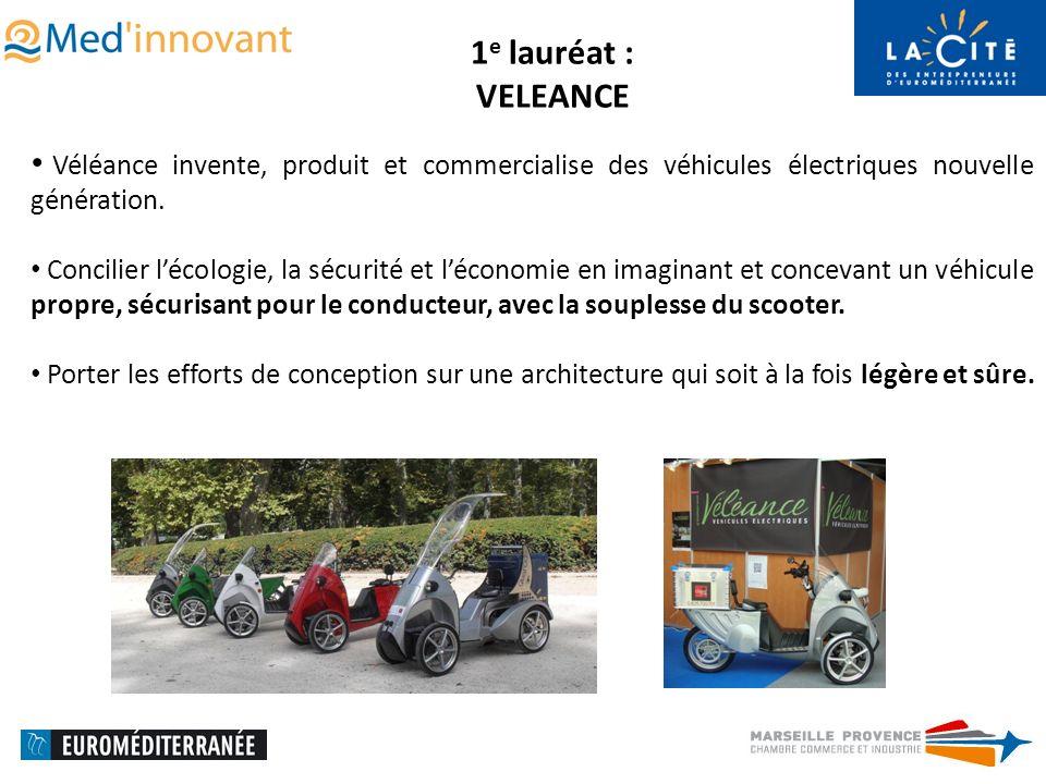 1 e lauréat : VELEANCE Véléance invente, produit et commercialise des véhicules électriques nouvelle génération.