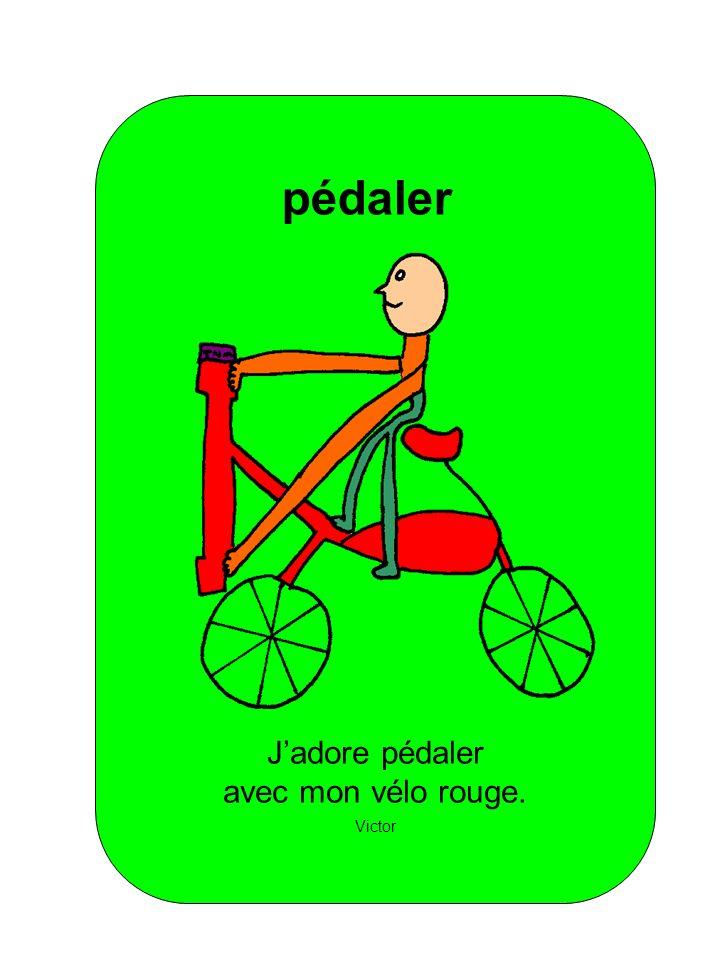 Jadore pédaler avec mon vélo rouge. Victor pédaler
