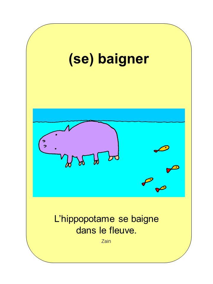 Lhippopotame se baigne dans le fleuve. Zain (se) baigner