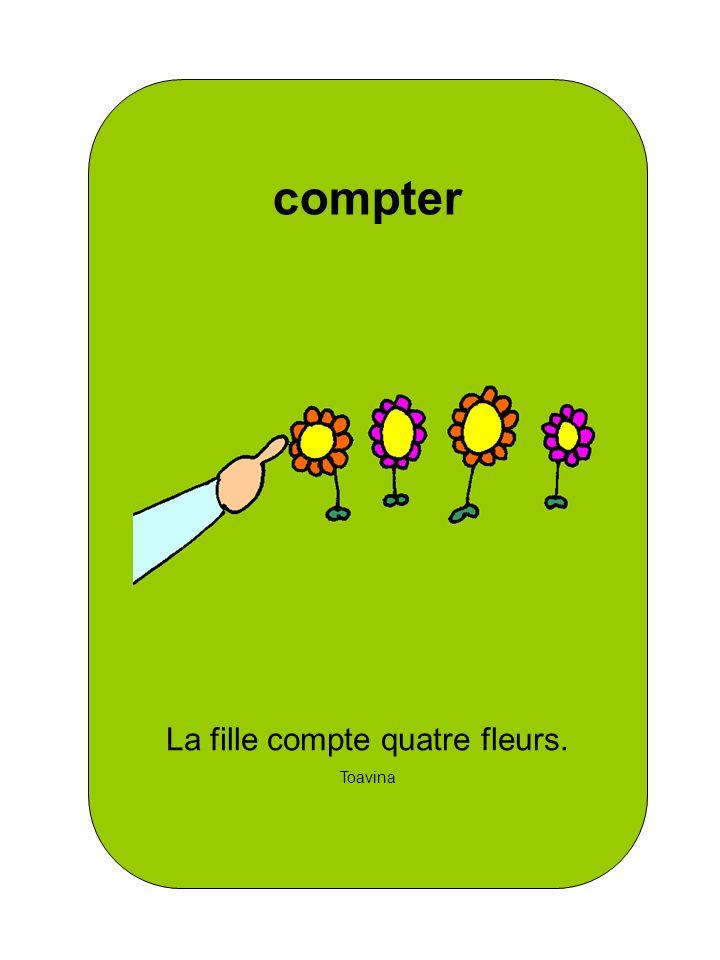 La fille compte quatre fleurs. Toavina compter