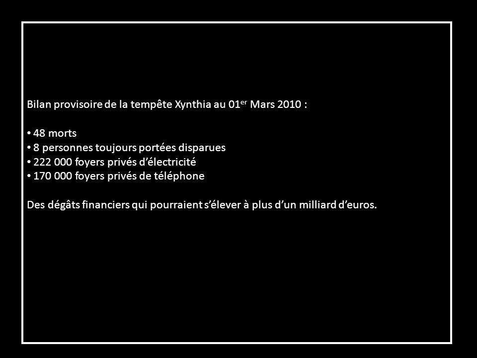 Bilan provisoire de la tempête Xynthia au 01 er Mars 2010 : 48 morts 8 personnes toujours portées disparues 222 000 foyers privés délectricité 170 000